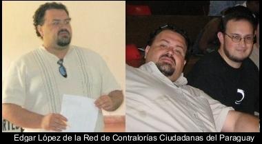 Damian Profeta y Edgar López de las Contralorías Ciudadanas del Paraguay. Fotografía tomada en Colombia 2005